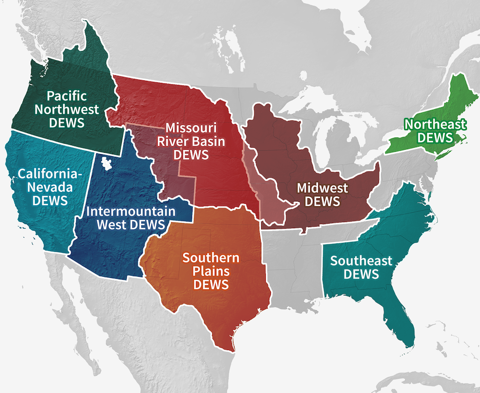 Map of all 8 DEWS regions in the United States
