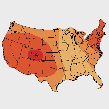 Climate Prediction Center map of the U.S. showing projected temperatures