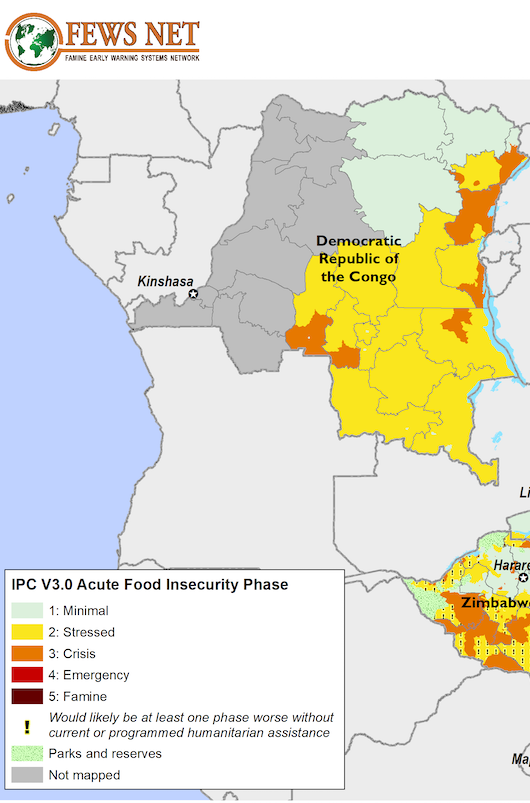 Example Southern Africa Food Security Classification Map from FEWS Net