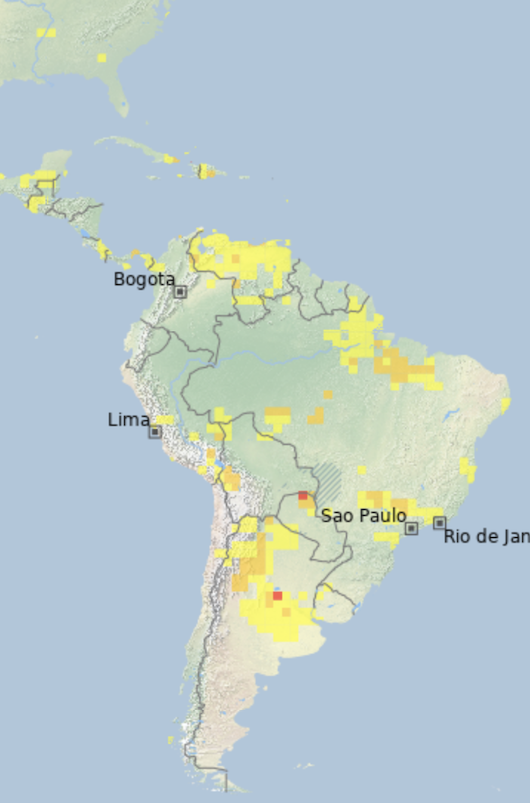 An example map of South America from the Global Drought Observatory MapViewer