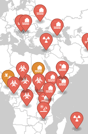 Example map of alert and ongoing disasters in Africa and Europe from ReliefWeb