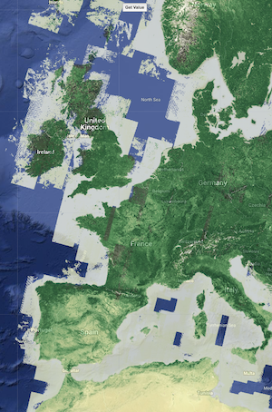 Example normalized difference vegetation index (NDVI) map of Europe and Northern Africa from Climate Engine