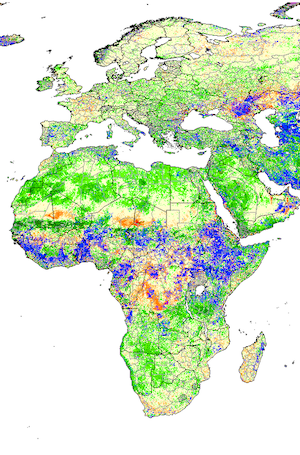 A map showing NDVI for Africa and Europe, from the Global Information and Early Warning System on Food and Agriculture