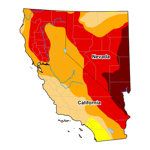 U.S. Drought monitor map of California and Nevada, as of December 15, 2020. Shows drought conditions throughout most of California and Nevada, including Exceptional Drought (D4) in eastern Nevada.