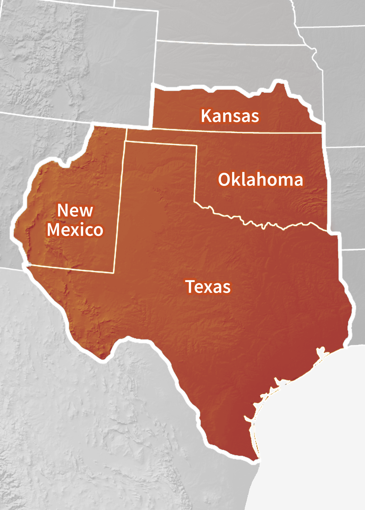 Map of the Southern Plains DEWS region, which includes Oklahoma, Texas, and parts of Kansas and New Mexico