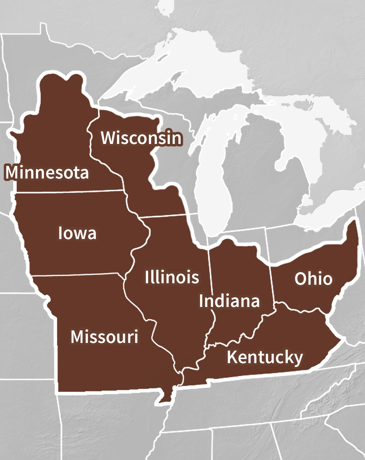 Midwest DEWS region map with individual states highlighted: Illinois, Indiana, Iowa, Kentucky, Minnesota, Missouri, Ohio, and Wisconsin.