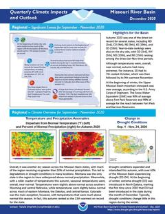First page of the Quarterly Climate Impacts and Outlook for the Missouri River Basin