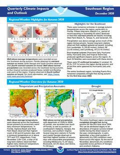 First page of the Quarterly Climate Impacts and Outlook for the Southeast Region