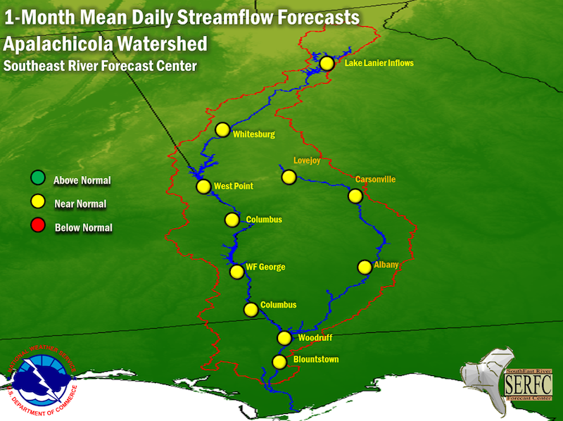 The 1-month mean daily streamflow forecast for the Apalachicola Watershed predicts near normal flow conditions.