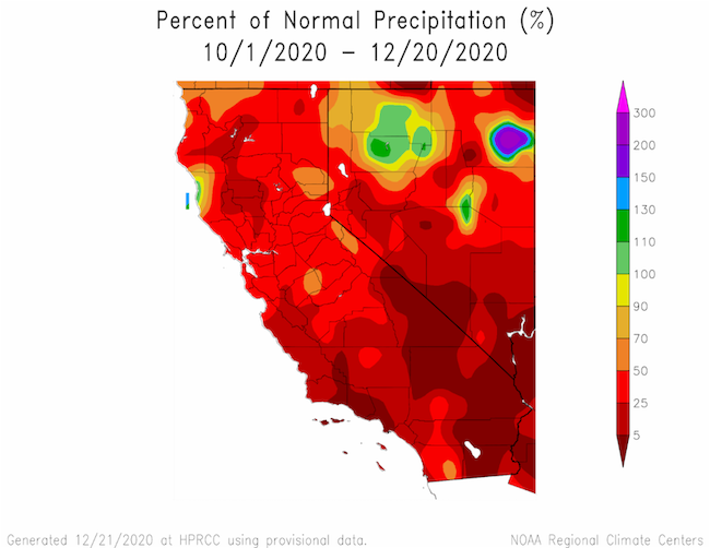 Map of California and Nevada Showing Percent of Normal Precipitation for the Last Year. Most regions show lower precipitation than normal, including regions with values of 5% or lower in southeast California and Nevada