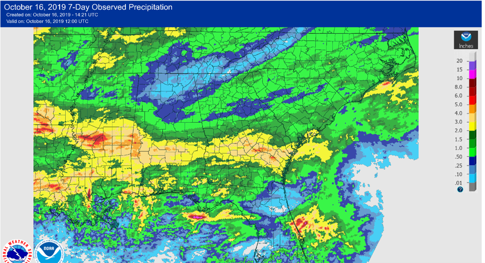 Precipitation across the Southeast in the last 7 days