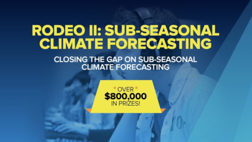 Rodeo 2: Sub-seasonal climate forecasting. Closing the gap on sub-seasonal climate forecasting. Over eight hundred thousand dollars in prizes!