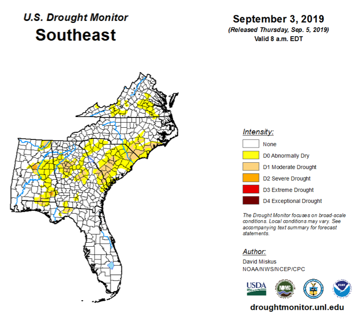 September 3 U.S. Drought Monitor Map for the Southeast U.S.