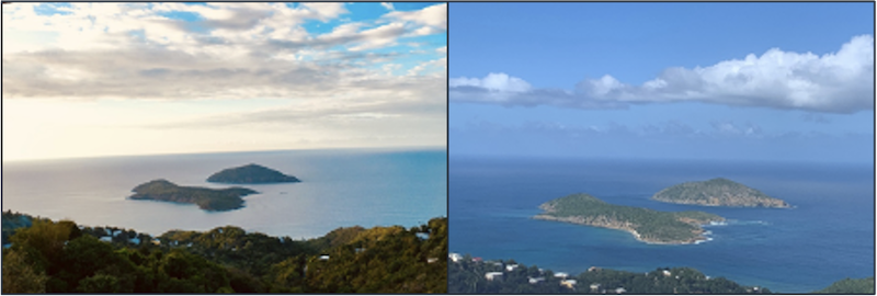 Inner and Outer Brass on St Thomas, April 2016 and December 28, 2020. The latter is current and shows the beginning signs of distress to vegetation.
