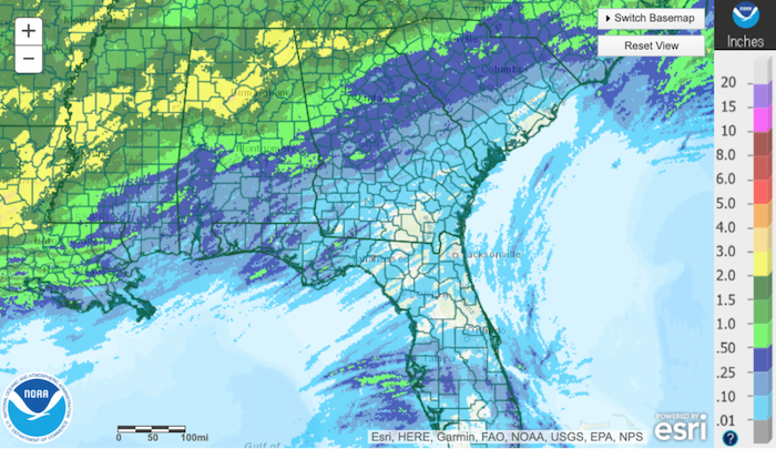 NOAA Map showing total rainfall over the past 7 days in the Southeast. The past 7 days, most of the ACF Basin has been relatively dry (less than 1 inch).