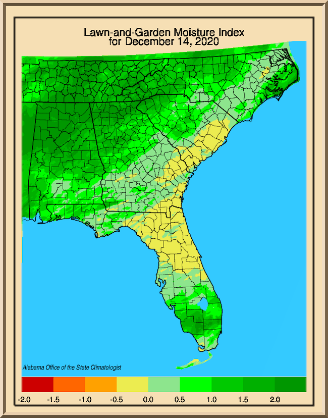 December 14 Lawn and Garden Moisture Index map from the University of Alabama at Huntsville. There is dryness in northeast Florida and southeast Georgia.