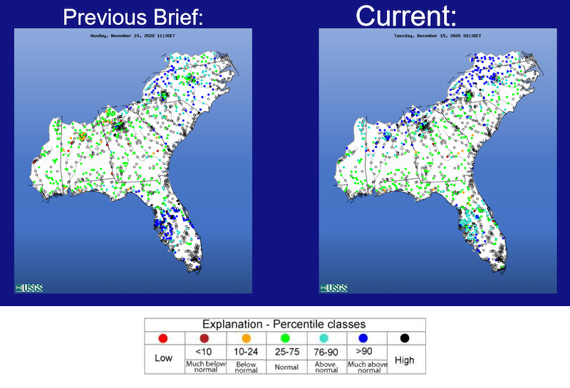 U.S. Geological Survey real-time streamflow maps of the Southeast for November 23, 2020 (left) and December 15, 2020 (right). treamflow in the ACF basin are currently in the high to below normal range, with the majority of locations in the normal range.