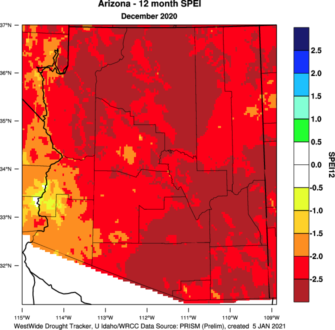 12-month SPEI for Arizona from the WestWide Drought Tracker