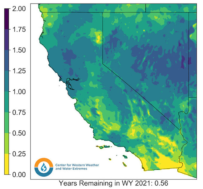 A map of California and Nevada shows water deficit as a fraction of normal water year's precipitation. Much of the region is greater than 0.75 years with the exception of parts of southern California.