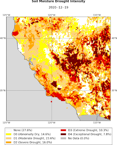 California-Nevada Map Showing Soil Moisture Intensity from the UCLA Drought Monitor. Valid December 19, 2020.