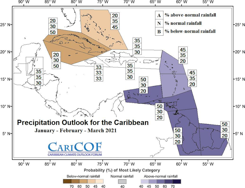 January to March 2021 precipitation outlook for the Caribbean, from the Caribbean Climate Outlook Forum. Shows no predictability in Puerto Rico or the U.S. Virgin Islands.