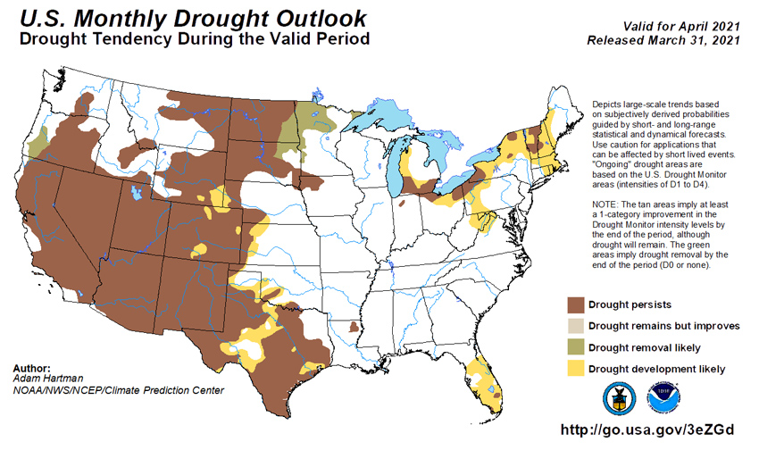 Climate Predication Center Monthly Drought Outlook for April 2021. Drought removal is likely in northern Minnesota, southeastern North Dakota, and northeastern South Dakota. Development is likely in parts of WY, CO, NE, and KS.
