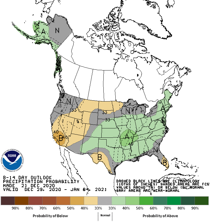December 29 - January 4 precipitation outlook for the United States, showing probability of below-normal precipitation across Nevada and southern California.