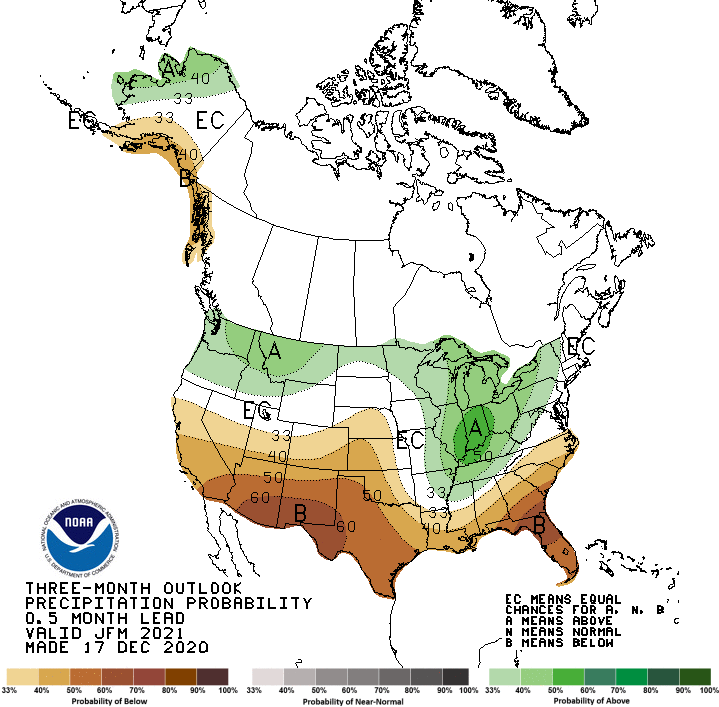 Three-month precipitation outlook, valid for January - March 2021.