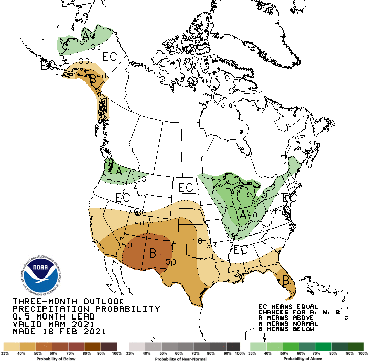 Climate Prediction Center precipitation outlook for March to May 2021. Odds favor below-normal precipitation across all but northern California and Nevada.