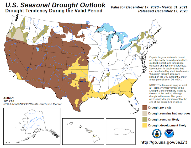 Seasonal drought outlook from NOAA's Climate Prediction Center, showing areas where drought is predicted to worsen, improve, or remain the same over the next 3 months. Valid for December 17, 2020 - March 31, 2021.