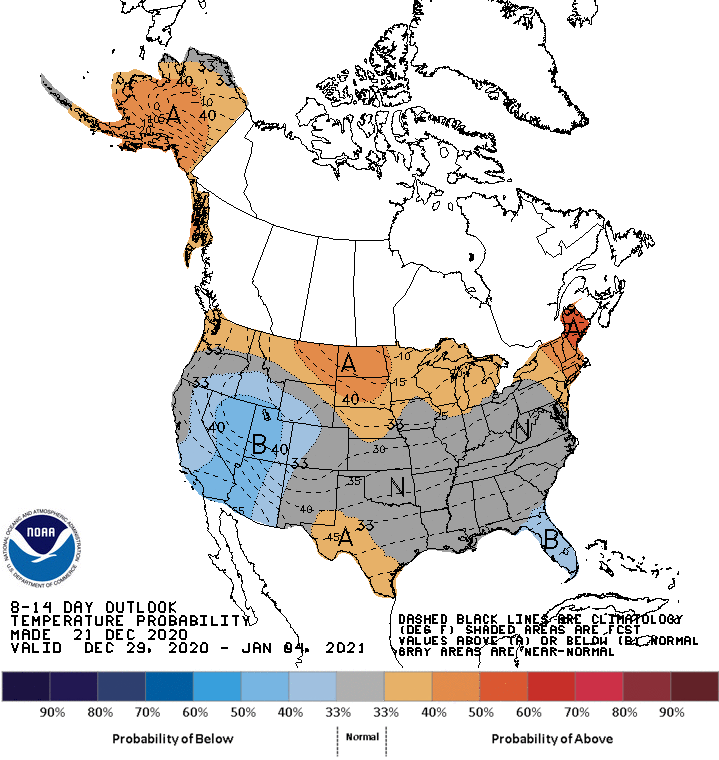 December 29 - January 4 temperature outlook for the United States. Shows probability of below-normal temperatures for Nevada and southern California.