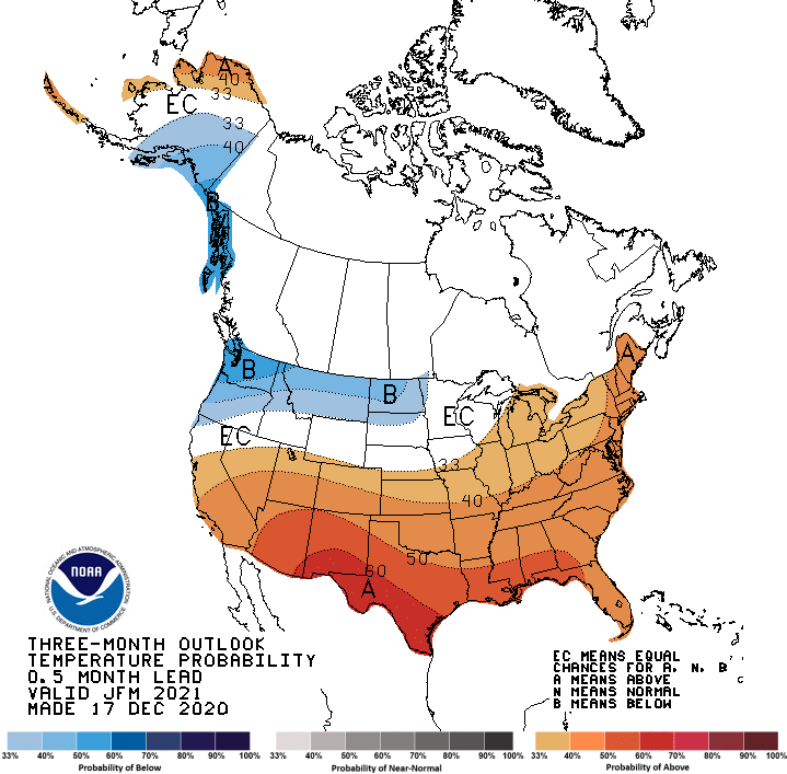 Climate Prediction Center 3-month temperature outlook, valid for January to March 2021.