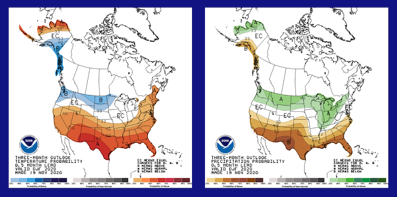 The NOAA 3-month Seasonal Outlook (Dec.-Feb.) predicts a strong chance of above-normal temperatures for the entire southern US as well as an increased chance of below normal rainfall in all of AL, GA, and FL.
