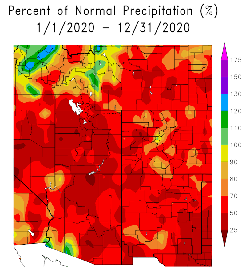 Percent of normal precipitation, 2020, for the Intermountain West region. Shows below-normal precipitation across most of the region.