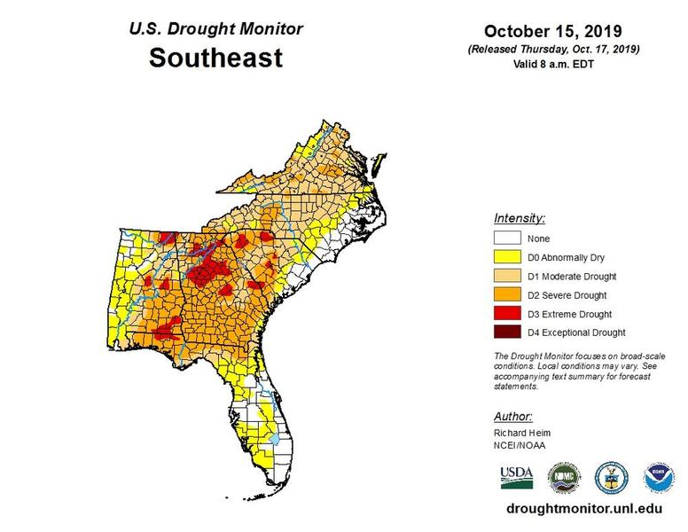 October 15 U.S. Drought Monitor map of the Southeast U,S.