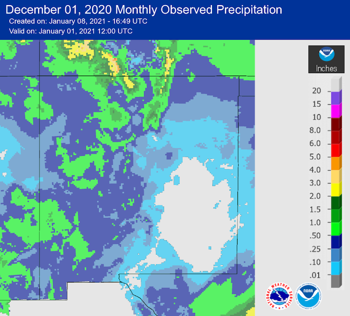 New Mexico observed precipitation for December 2020.