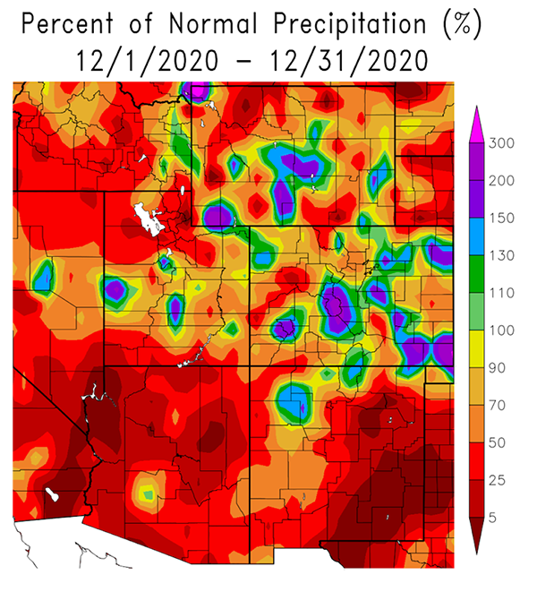 Percent of normal precipitation, December 2020, for the Intermountain West DEWS region.