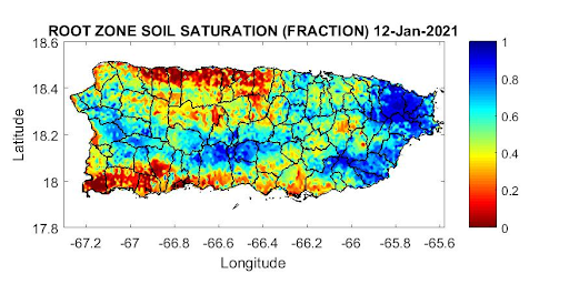 Root zone soil saturation for Puerto Rico, as of January 12, 2021. Shows low saturation levels across the north central and southwest.