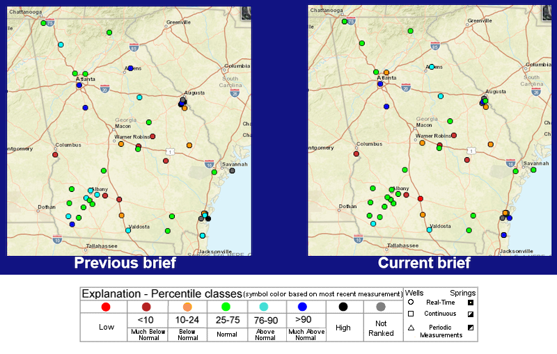 Real-time groundwater levels across the ACF basin range from much above normal to much below normal, with most stations in the normal range.