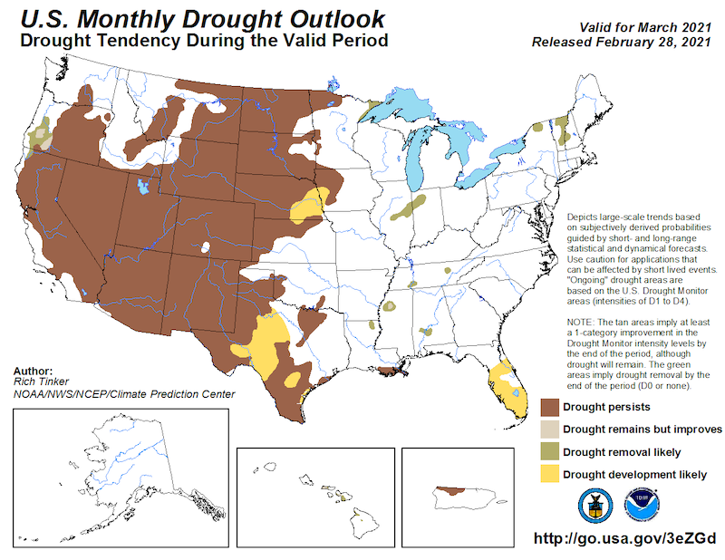 Climate Predication Center Monthly Drought Outlook for March 2021, predicting the probability that drought will emerge, stay the same, or get better. Drought is likely to persist through most of California and Nevada.