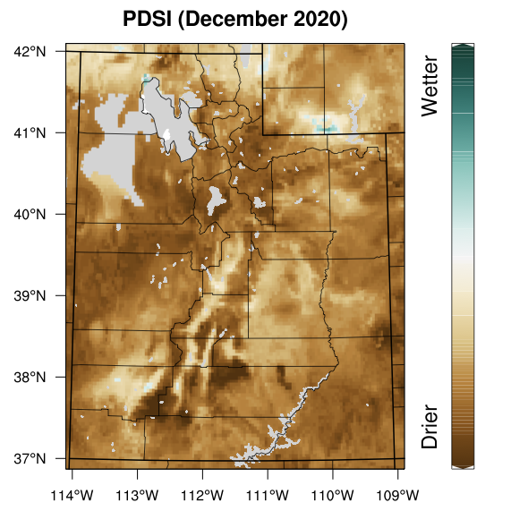 The most recent (December) PDSI calculated for Utah using Utah Climate Center's station network and PRISM data.
