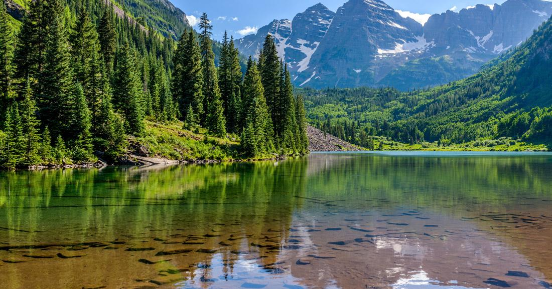 A lake surrounded by trees in Aspen, Colorado