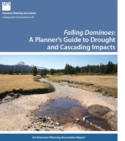 Report cover depicting the title and a nearly dry creekbed running through grasslands with mountains in the distance
